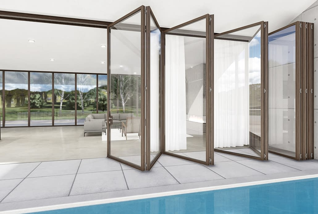A multi-panel minimal frame wood folding door expands the living space in this modern home