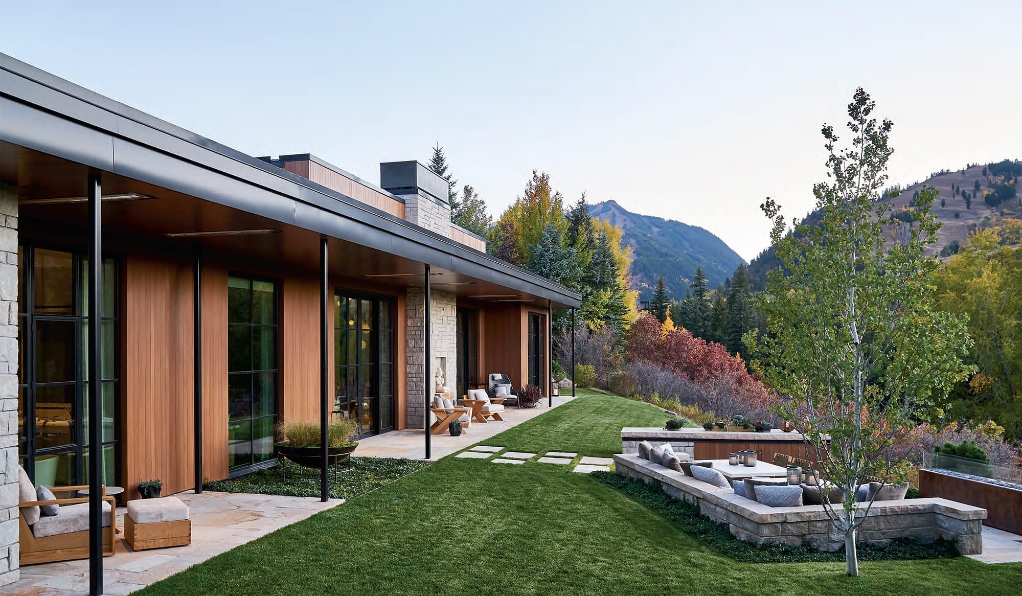 Custom steel windows by Brombal blend harmoniously with Aspen's landscape.